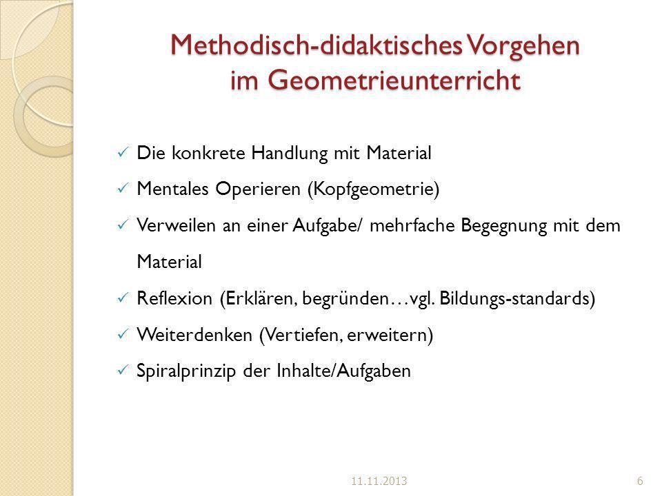 Methodisch-didaktisches Vorgehen im Geometrieunterricht Die konkrete Handlung mit Material Mentales Operieren (Kopfgeometrie) Verweilen an einer Aufga