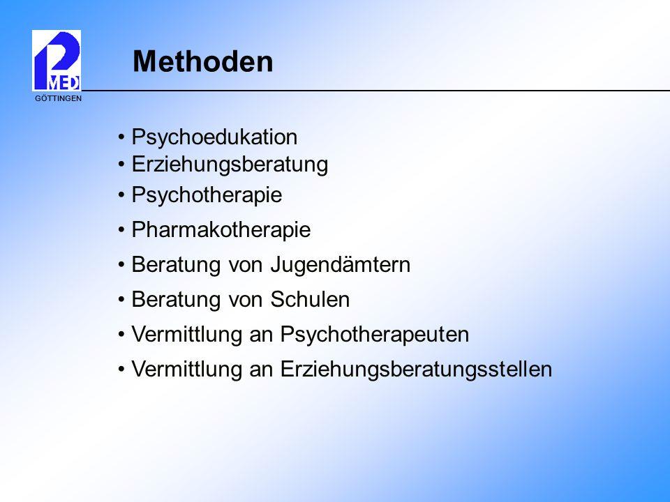 GÖTTINGEN Methoden Psychoedukation Erziehungsberatung Psychotherapie Pharmakotherapie Beratung von Jugendämtern Beratung von Schulen Vermittlung an Ps