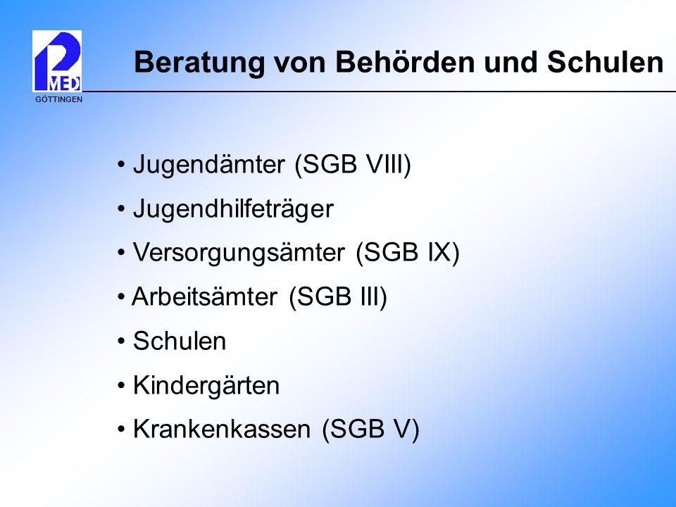GÖTTINGEN Beratung von Behörden und Schulen Jugendämter (SGB VIII) Jugendhilfeträger Versorgungsämter (SGB IX) Arbeitsämter (SGB III) Schulen Kindergä