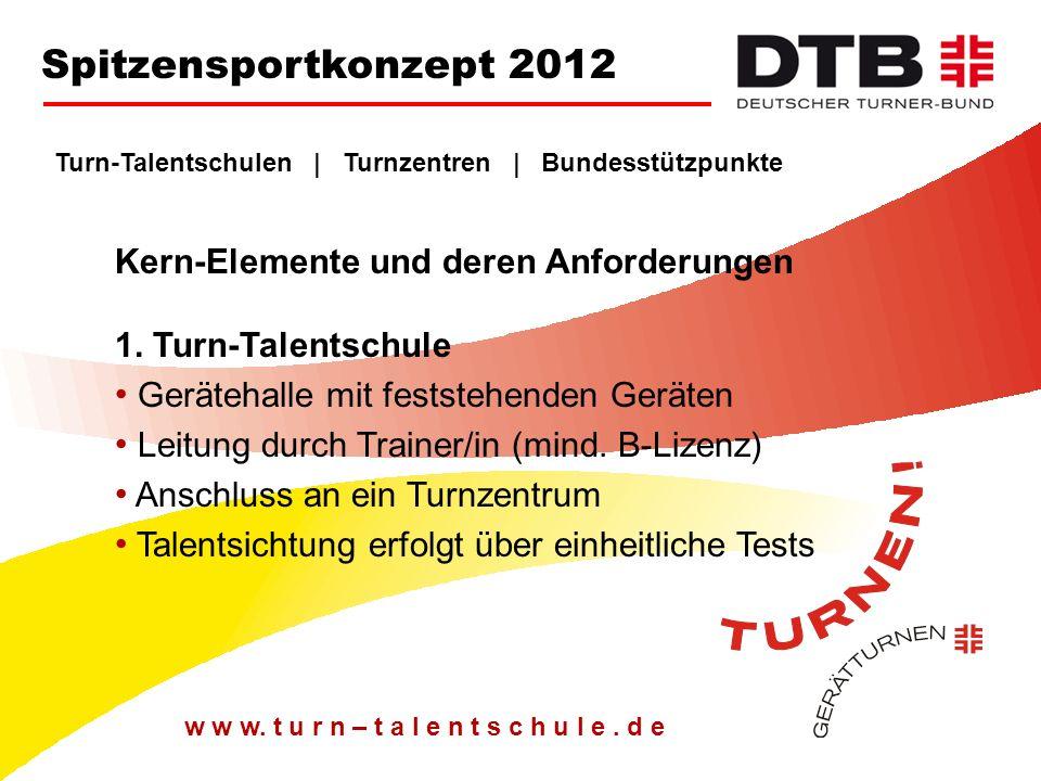 Turn-Talentschulen   Turnzentren   Bundesstützpunkte Kern-Elemente und deren Anforderungen 2.