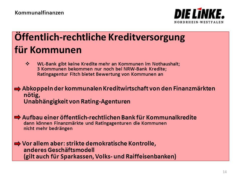 Kommunalfinanzen 14 Öffentlich-rechtliche Kreditversorgung für Kommunen WL-Bank gibt keine Kredite mehr an Kommunen im Nothaushalt; 3 Kommunen bekomme