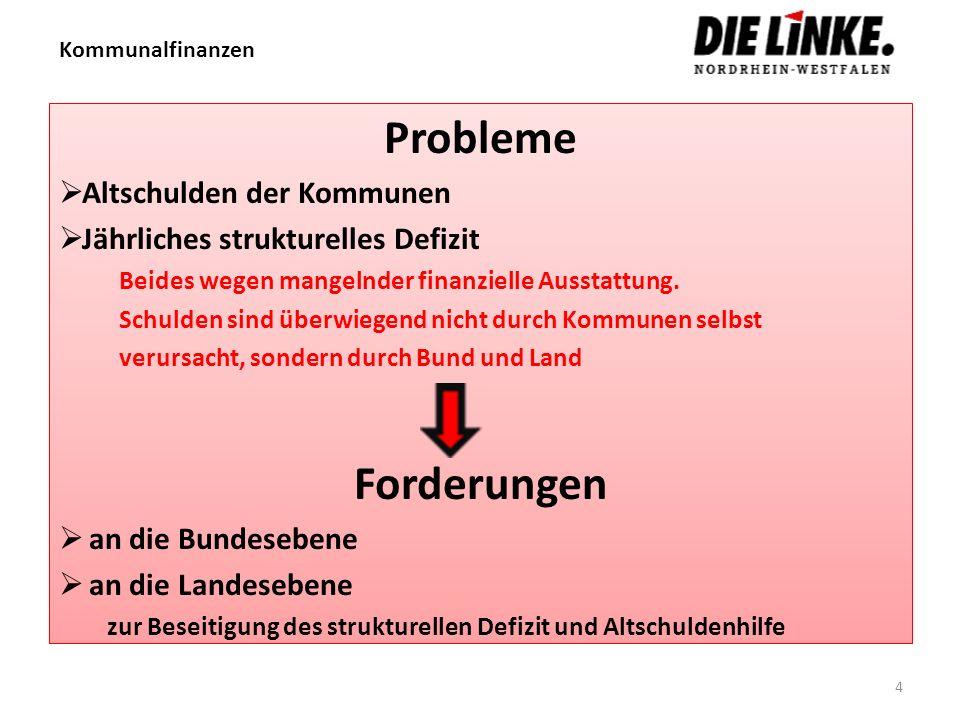 Kommunalfinanzen Probleme Altschulden der Kommunen Jährliches strukturelles Defizit Beides wegen mangelnder finanzielle Ausstattung. Schulden sind übe