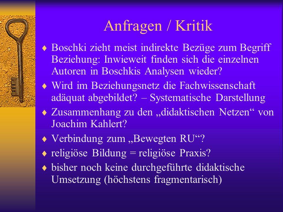 Anfragen / Kritik Boschki zieht meist indirekte Bezüge zum Begriff Beziehung: Inwieweit finden sich die einzelnen Autoren in Boschkis Analysen wieder?