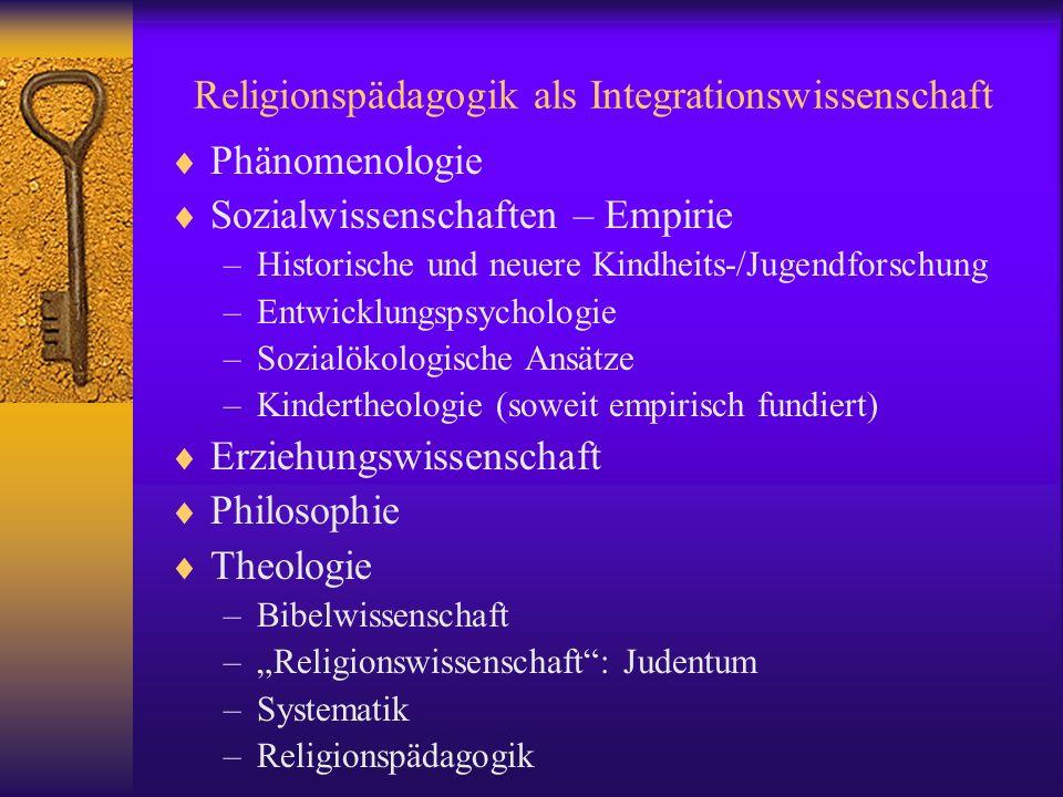 Religionspädagogik als Integrationswissenschaft Phänomenologie Sozialwissenschaften – Empirie –Historische und neuere Kindheits-/Jugendforschung –Entw