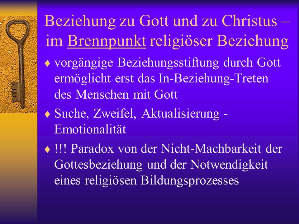 Beziehung zu Gott und zu Christus – im Brennpunkt religiöser Beziehung vorgängige Beziehungsstiftung durch Gott ermöglicht erst das In-Beziehung-Trete