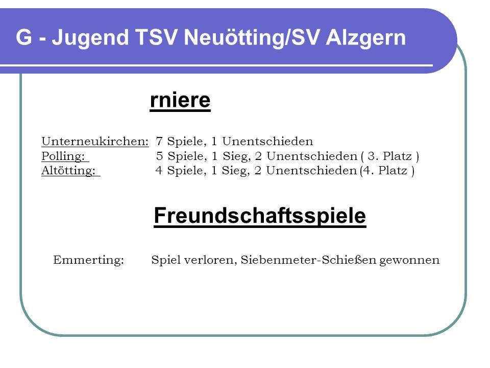 G - Jugend TSV Neuötting/SV Alzgern rniere Unterneukirchen: 7 Spiele, 1 Unentschieden Polling: 5 Spiele, 1 Sieg, 2 Unentschieden ( 3. Platz ) Altöttin