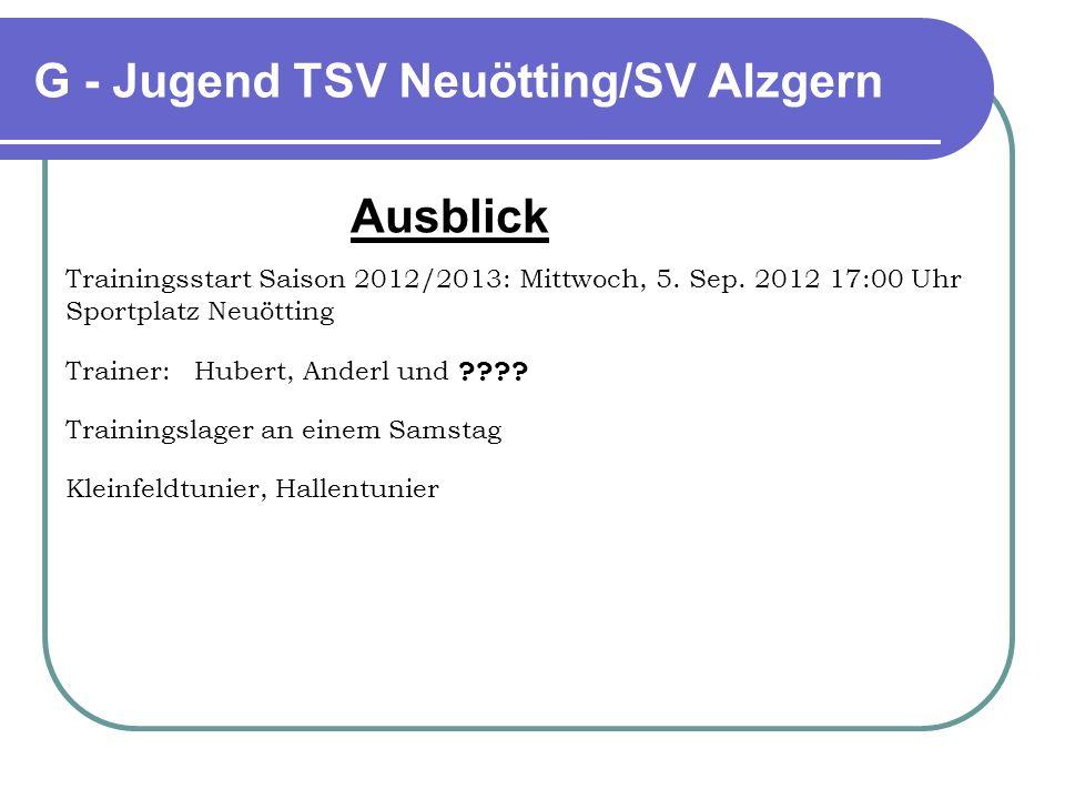 G - Jugend TSV Neuötting/SV Alzgern Ausblick Trainingsstart Saison 2012/2013: Mittwoch, 5. Sep. 2012 17:00 Uhr Sportplatz Neuötting Trainer: Hubert, A
