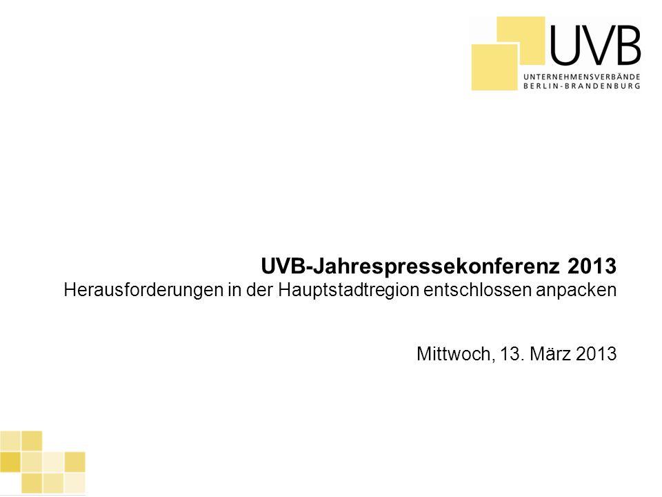 UVB Frühjahrsumfrage 2012 1 UVB-Jahrespressekonferenz 2013 Herausforderungen in der Hauptstadtregion entschlossen anpacken Mittwoch, 13. März 2013
