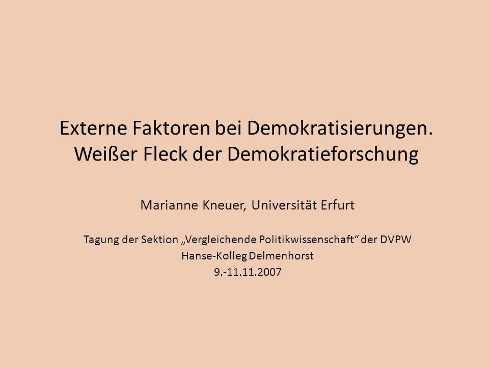 Externe Faktoren bei Demokratisierungen. Weißer Fleck der Demokratieforschung Marianne Kneuer, Universität Erfurt Tagung der Sektion Vergleichende Pol