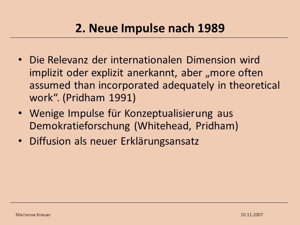 Marianne Kneuer10.11.2007 2. Neue Impulse nach 1989 Die Relevanz der internationalen Dimension wird implizit oder explizit anerkannt, aber more often