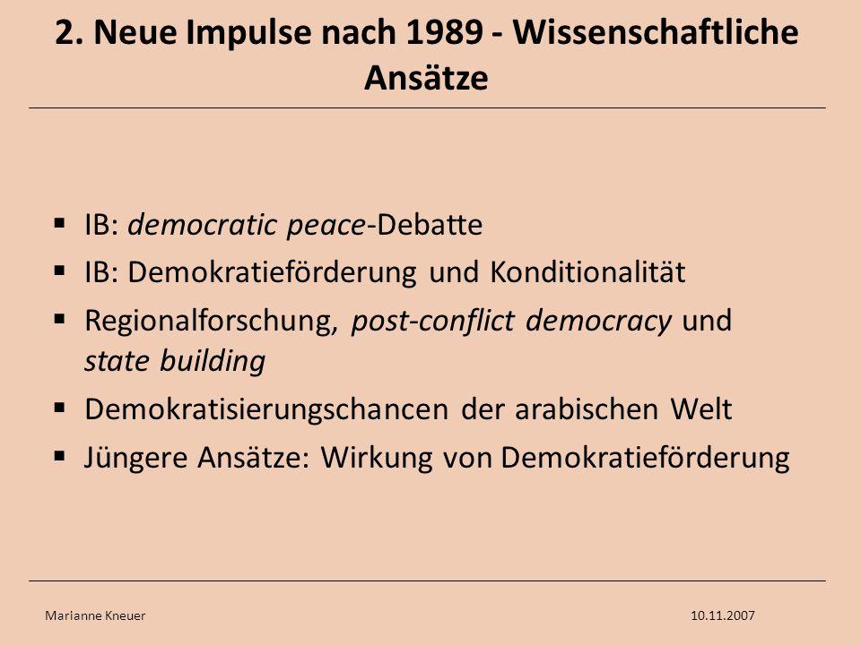 Marianne Kneuer10.11.2007 2. Neue Impulse nach 1989 - Wissenschaftliche Ansätze IB: democratic peace-Debatte IB: Demokratieförderung und Konditionalit