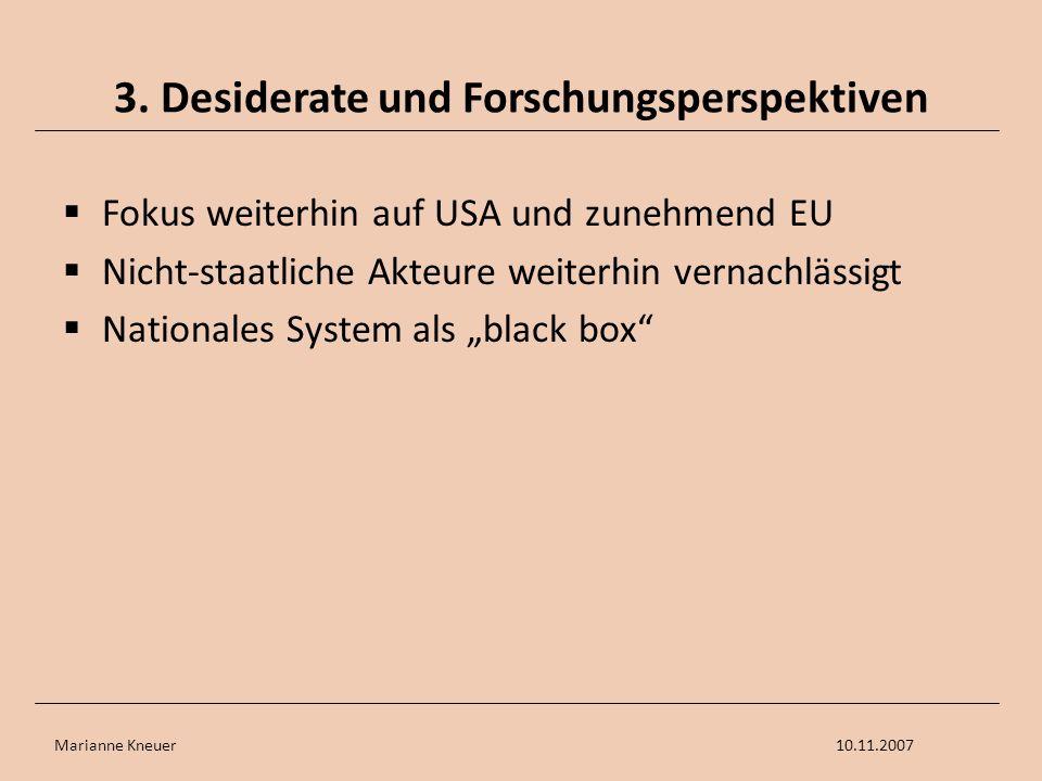 Marianne Kneuer10.11.2007 3. Desiderate und Forschungsperspektiven Fokus weiterhin auf USA und zunehmend EU Nicht-staatliche Akteure weiterhin vernach