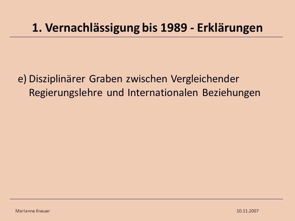 Marianne Kneuer10.11.2007 1. Vernachlässigung bis 1989 - Erklärungen e)Disziplinärer Graben zwischen Vergleichender Regierungslehre und Internationale