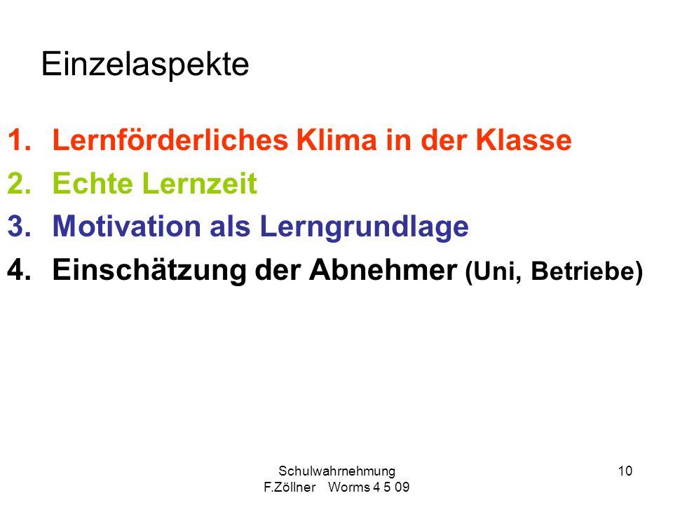 Schulwahrnehmung F.Zöllner Worms 4 5 09 10 Einzelaspekte 1.Lernförderliches Klima in der Klasse 2.Echte Lernzeit 3.Motivation als Lerngrundlage 4.Eins