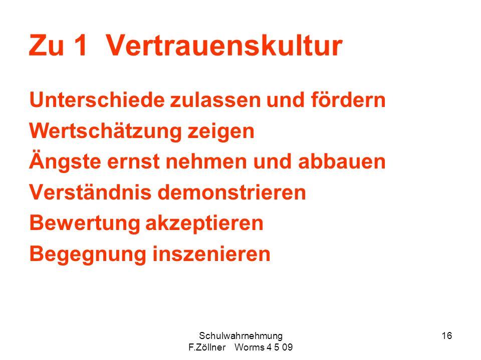 Schulwahrnehmung F.Zöllner Worms 4 5 09 16 Zu 1 Vertrauenskultur Unterschiede zulassen und fördern Wertschätzung zeigen Ängste ernst nehmen und abbaue