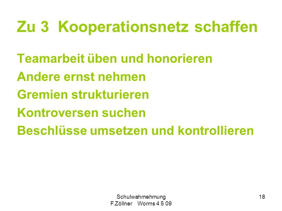 Schulwahrnehmung F.Zöllner Worms 4 5 09 18 Zu 3 Kooperationsnetz schaffen Teamarbeit üben und honorieren Andere ernst nehmen Gremien strukturieren Kon