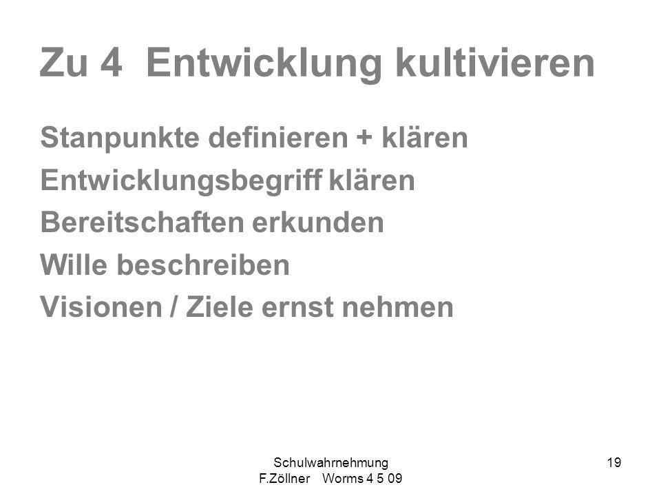 Schulwahrnehmung F.Zöllner Worms 4 5 09 19 Zu 4 Entwicklung kultivieren Stanpunkte definieren + klären Entwicklungsbegriff klären Bereitschaften erkun