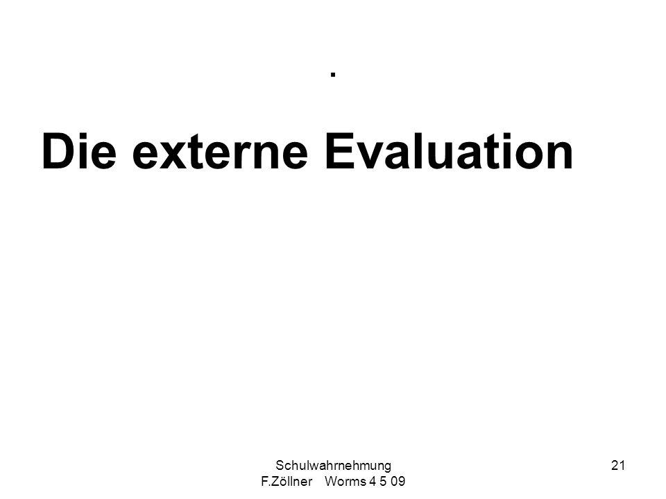 Schulwahrnehmung F.Zöllner Worms 4 5 09 21. Die externe Evaluation