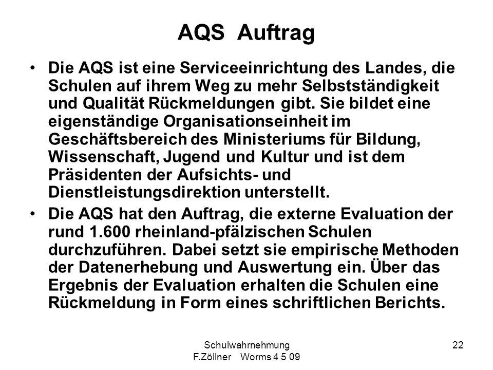 Schulwahrnehmung F.Zöllner Worms 4 5 09 22 AQS Auftrag Die AQS ist eine Serviceeinrichtung des Landes, die Schulen auf ihrem Weg zu mehr Selbstständig