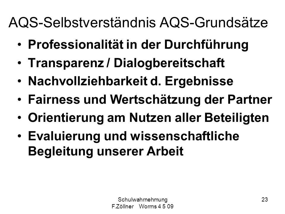Schulwahrnehmung F.Zöllner Worms 4 5 09 23 AQS-Selbstverständnis AQS-Grundsätze Professionalität in der Durchführung Transparenz / Dialogbereitschaft