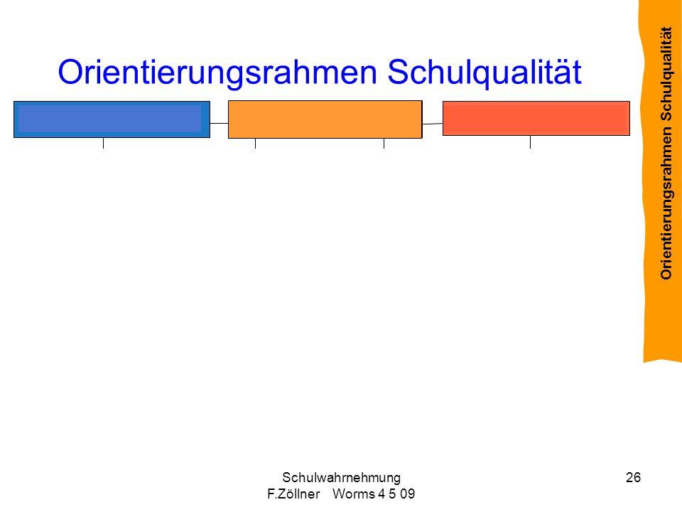 Schulwahrnehmung F.Zöllner Worms 4 5 09 26 Orientierungsrahmen Schulqualität Rahmenbedingungen Schulische u. unterrichtliche Prozesse Ergebnisse und W