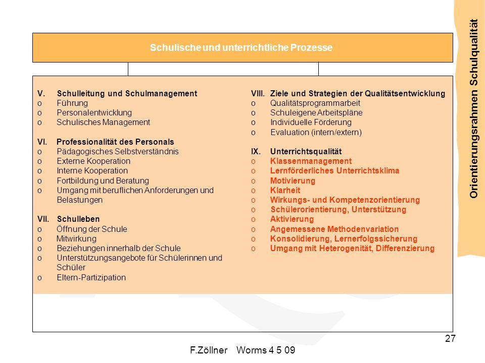 Schulwahrnehmung F.Zöllner Worms 4 5 09 27 Schulische und unterrichtliche Prozesse V.Schulleitung und Schulmanagement oFührung oPersonalentwicklung oS