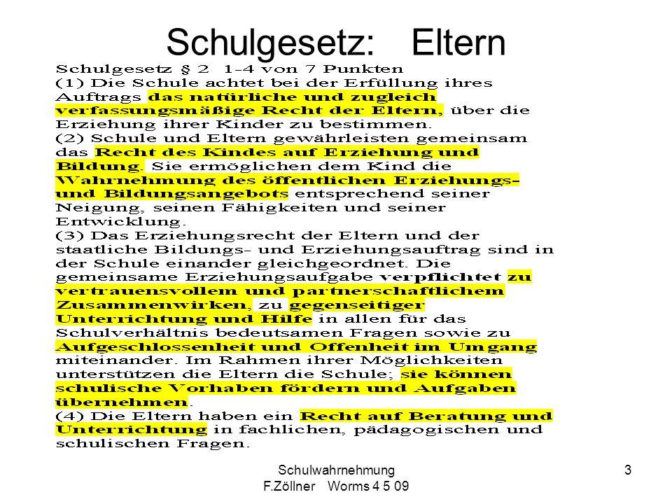 Schulwahrnehmung F.Zöllner Worms 4 5 09 4 Elternerwartungen Mutter Müller: Wie alt sind denn Ihre Kinder.