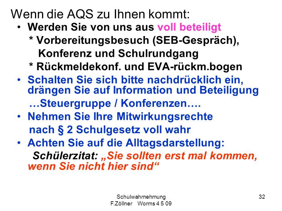 Schulwahrnehmung F.Zöllner Worms 4 5 09 32 Wenn die AQS zu Ihnen kommt: Werden Sie von uns aus voll beteiligt * Vorbereitungsbesuch (SEB-Gespräch), Ko