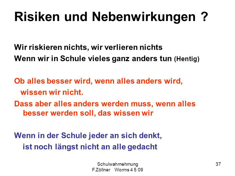 Schulwahrnehmung F.Zöllner Worms 4 5 09 37 Risiken und Nebenwirkungen ? Wir riskieren nichts, wir verlieren nichts Wenn wir in Schule vieles ganz ande