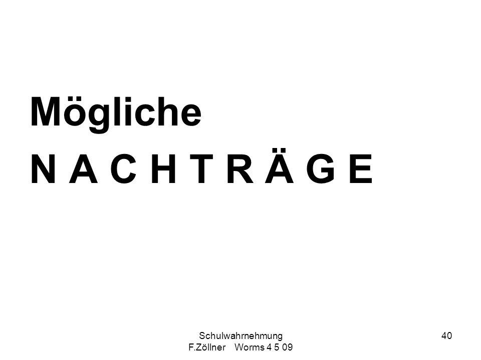 Schulwahrnehmung F.Zöllner Worms 4 5 09 40 Mögliche N A C H T R Ä G E