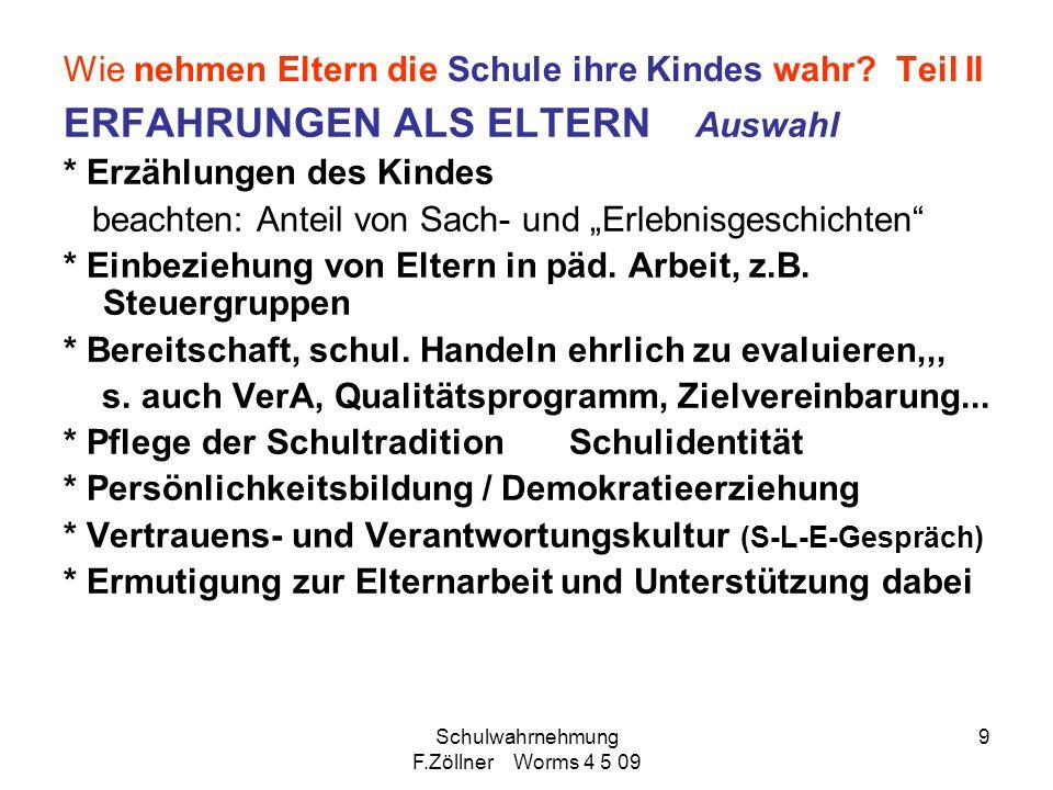 Schulwahrnehmung F.Zöllner Worms 4 5 09 10 Einzelaspekte 1.Lernförderliches Klima in der Klasse 2.Echte Lernzeit 3.Motivation als Lerngrundlage 4.Einschätzung der Abnehmer (Uni, Betriebe)