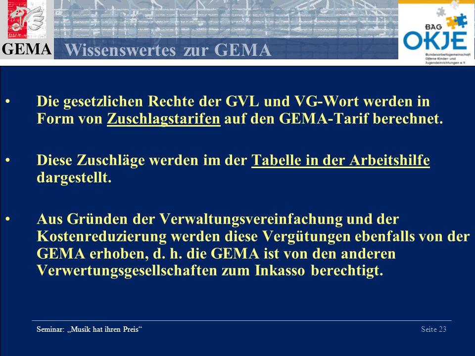 Seite 23 Wissenswertes zur GEMA Seminar: Musik hat ihren Preis Die gesetzlichen Rechte der GVL und VG-Wort werden in Form von Zuschlagstarifen auf den