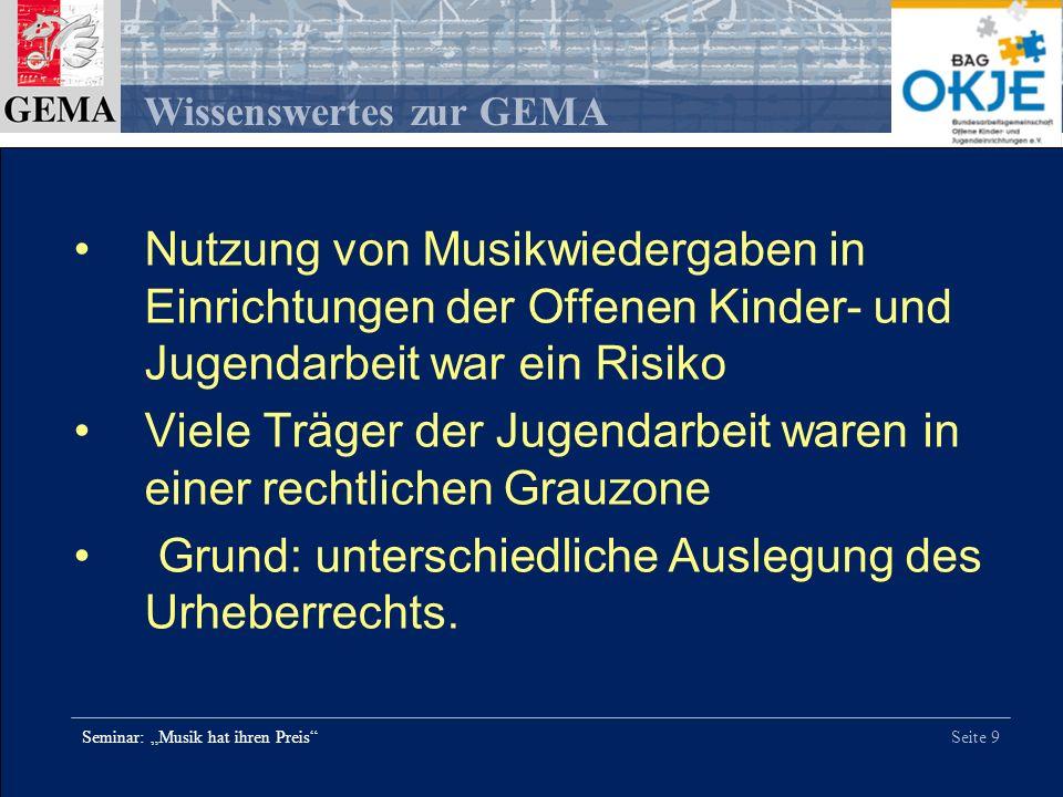 Seite 20 Wissenswertes zur GEMA Seminar: Musik hat ihren Preis Ziffer 7.
