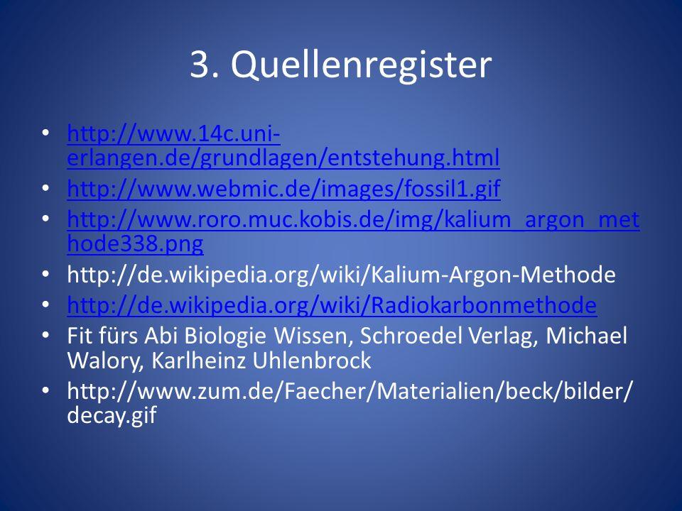 3. Quellenregister http://www.14c.uni- erlangen.de/grundlagen/entstehung.html http://www.14c.uni- erlangen.de/grundlagen/entstehung.html http://www.we