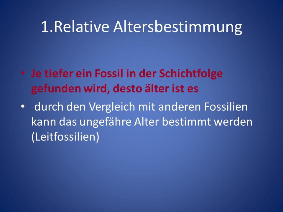 1.Relative Altersbestimmung Je tiefer ein Fossil in der Schichtfolge gefunden wird, desto älter ist es durch den Vergleich mit anderen Fossilien kann