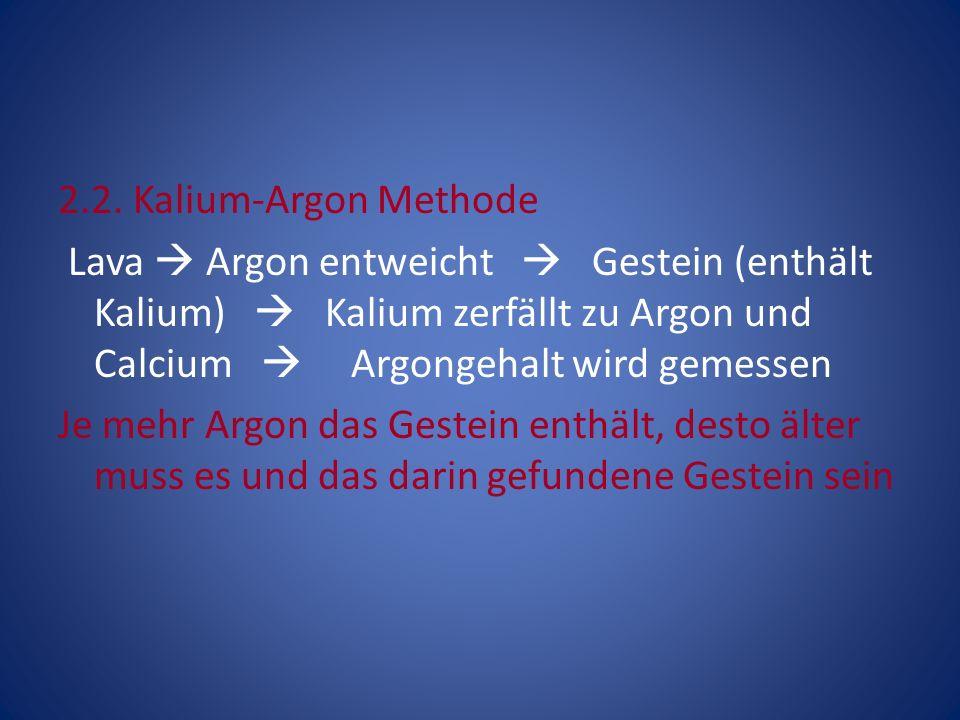 2.2. Kalium-Argon Methode Lava Argon entweicht Gestein (enthält Kalium) Kalium zerfällt zu Argon und Calcium Argongehalt wird gemessen Je mehr Argon d