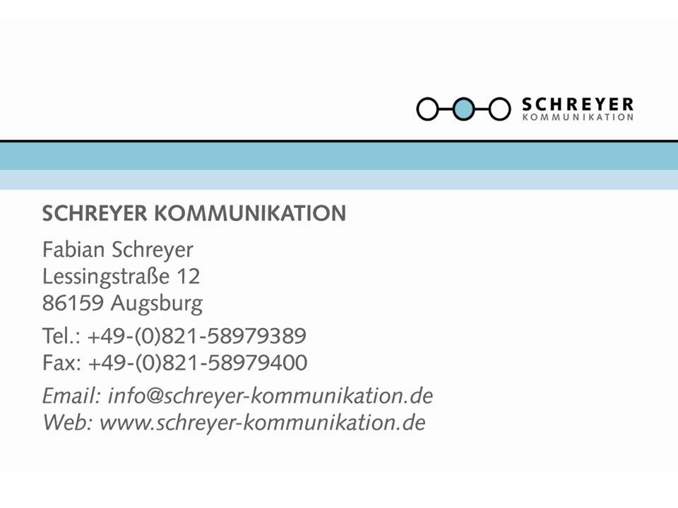 Agentur: Seit 2009 ist Schreyer Kommunikation (Inhaber: Fabian Schreyer) als PR-Dienstleister für die Musik- und Veranstaltungsbranche tätig.