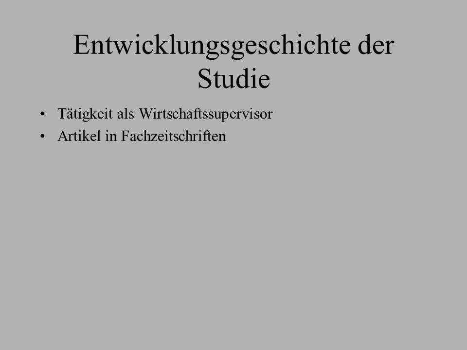 Entwicklungsgeschichte der Studie Tätigkeit als Wirtschaftssupervisor Artikel in Fachzeitschriften