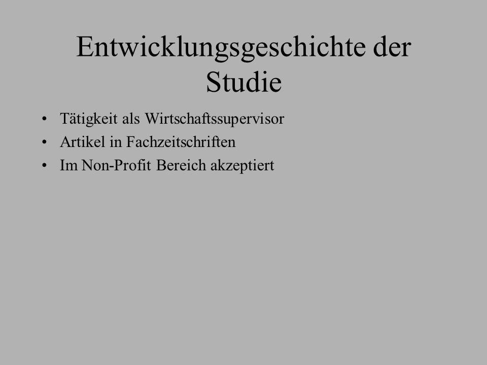 Entwicklungsgeschichte der Studie Tätigkeit als Wirtschaftssupervisor Artikel in Fachzeitschriften Im Non-Profit Bereich akzeptiert