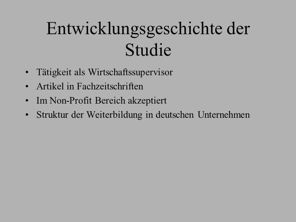 Entwicklungsgeschichte der Studie Tätigkeit als Wirtschaftssupervisor Artikel in Fachzeitschriften Im Non-Profit Bereich akzeptiert Struktur der Weite