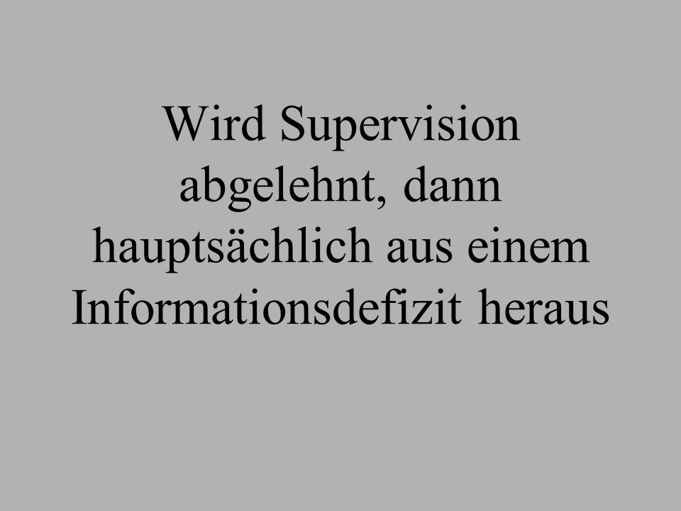 Wird Supervision abgelehnt, dann hauptsächlich aus einem Informationsdefizit heraus