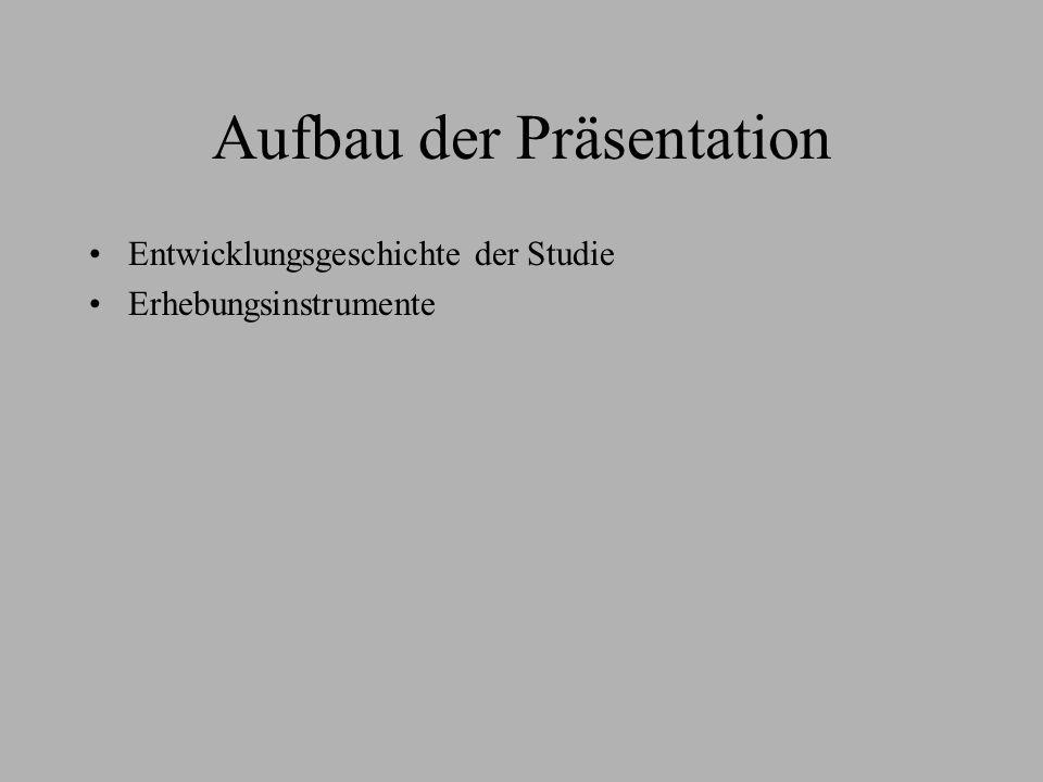 Aufbau der Präsentation Entwicklungsgeschichte der Studie Erhebungsinstrumente