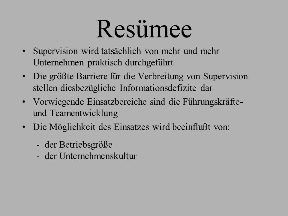 Resümee Supervision wird tatsächlich von mehr und mehr Unternehmen praktisch durchgeführt Die größte Barriere für die Verbreitung von Supervision stel