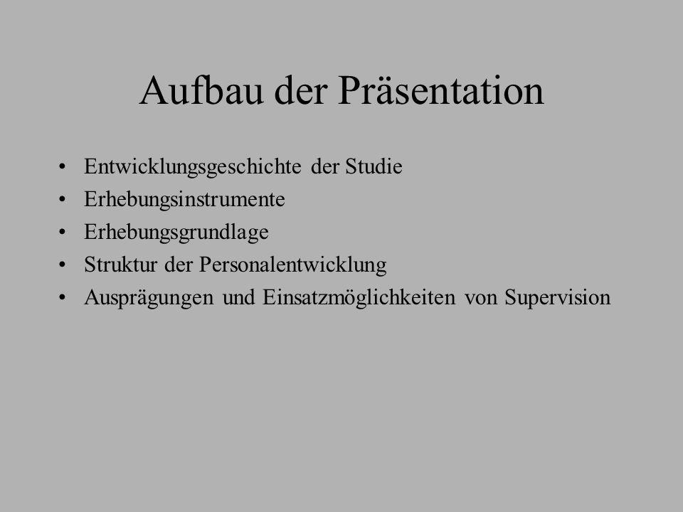 Aufbau der Präsentation Entwicklungsgeschichte der Studie Erhebungsinstrumente Erhebungsgrundlage Struktur der Personalentwicklung Ausprägungen und Ei