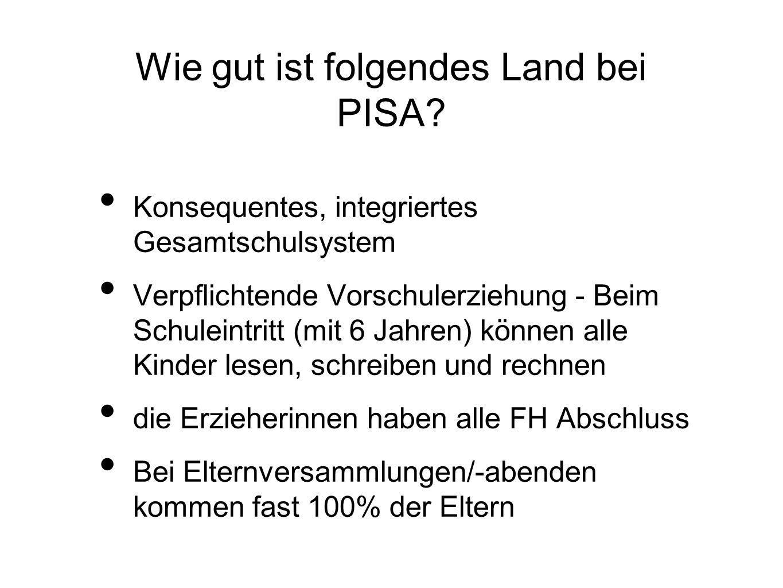 Wie gut ist folgendes Land bei PISA? Konsequentes, integriertes Gesamtschulsystem Verpflichtende Vorschulerziehung - Beim Schuleintritt (mit 6 Jahren)