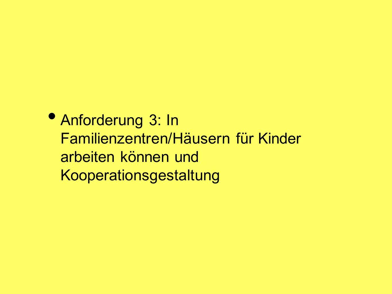 Anforderung 3: In Familienzentren/Häusern für Kinder arbeiten können und Kooperationsgestaltung