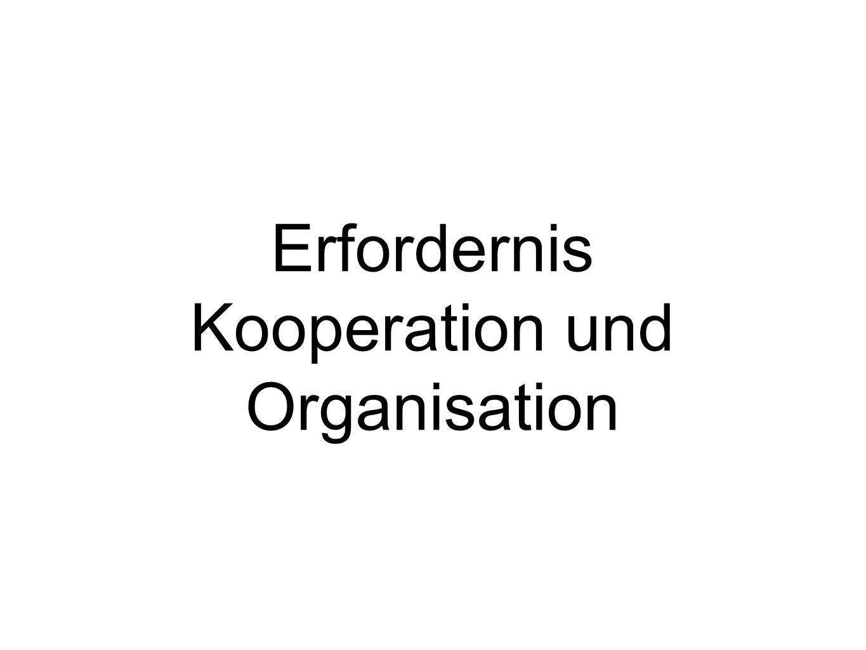 Erfordernis Kooperation und Organisation