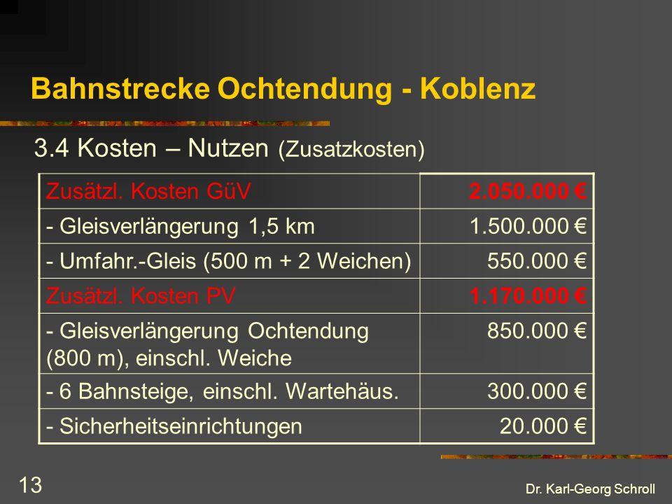 Dr. Karl-Georg Schroll 13 Bahnstrecke Ochtendung - Koblenz 3.4 Kosten – Nutzen (Zusatzkosten) Zusätzl. Kosten GüV2.050.000 - Gleisverlängerung 1,5 km1