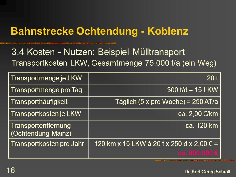Dr. Karl-Georg Schroll 16 Bahnstrecke Ochtendung - Koblenz 3.4 Kosten - Nutzen: Beispiel Mülltransport Transportmenge je LKW20 t Transportmenge pro Ta