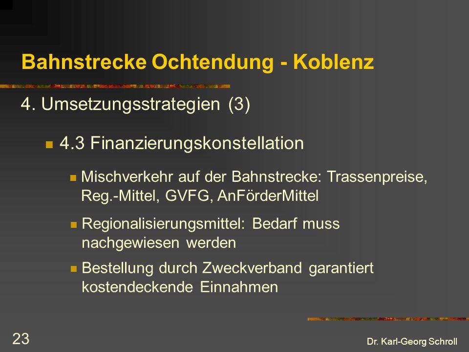 Dr.Karl-Georg Schroll 23 Bahnstrecke Ochtendung - Koblenz 4.3 Finanzierungskonstellation 4.